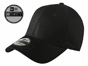 New Era 39Thirty Blank Stretch Cotton fitted Black Hat Cap NE1000 ... bbbb1e79be9