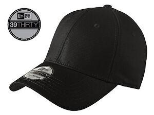 3d83dbf98df New Era 39Thirty Blank Stretch Cotton fitted Black Hat Cap NE1000 ...