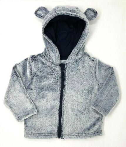 New Baby Boys Grey Furry Teddy Bear Ears Hooded Zip Hoodie Jacket Cardigan Top