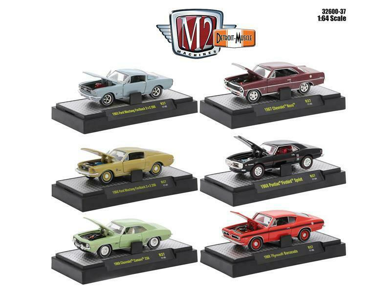 Detroit Muscle 6 Cars Set Release 37 IN DISPLAY CASES 1 64 Diecast Model Cars by