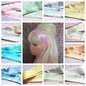 PALE-SHADE-SATIN-SELF-TIE-BOW-HAIR-SCARF-HEAD-BAND-80s-RETRO-50s-VINTAGE-STYLE