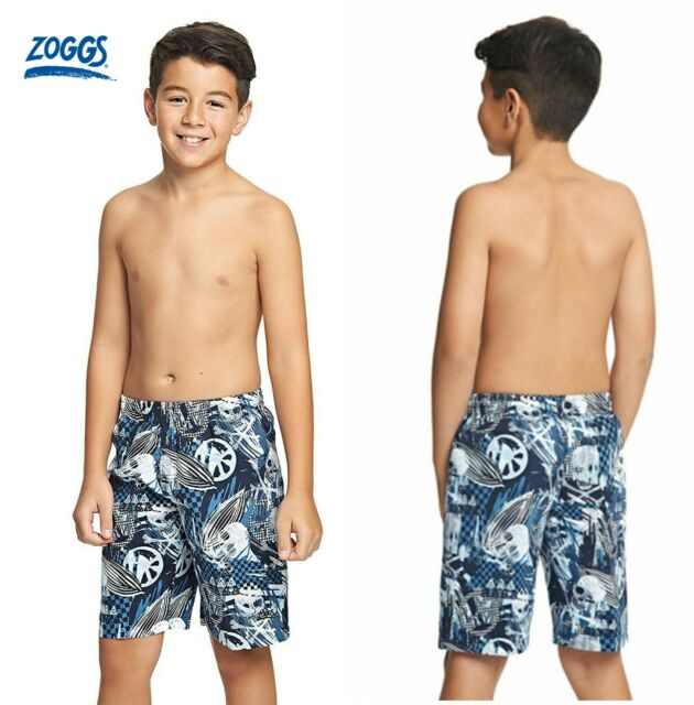 b0273c01a133a Boys Zoggs Swimming Board Shorts Trunks Swim Mesh Lined Age 8-9 Blue Grey  Skulls for sale online | eBay