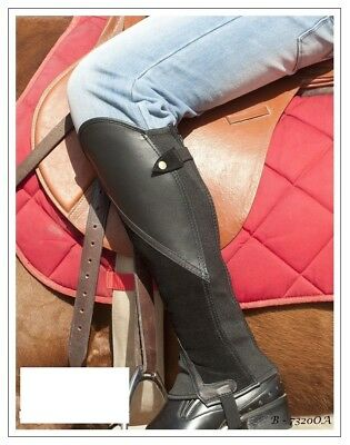 Black Leather Comfort Gaiters with Brown Leather Feature Panel