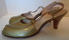 NOS Vintage 60s Gold & Silver Patent Leather Open Toe Shoes Red Cross 7 1/2 AA