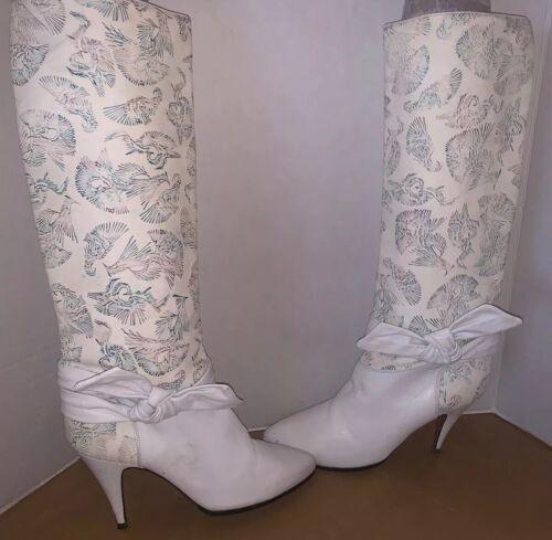 VTG Michele Loisi Italy 80's White/Cream Boots SZ