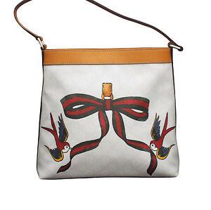1b6c10002a9 NEW GUCCI GG Plus Canvas Meier Hobo Bag Handbag w Bird Ribbon Tattoo ...