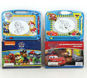 DISNEY 2in1 ZAUBERTAFEL & BUCH | Cars Lightning Mc Queen Paw Patrol Rocky ~vv5