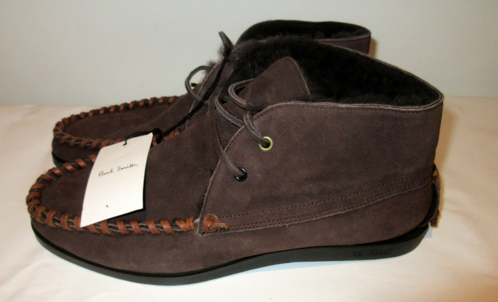 Mens boots PAUL SMITH j321 Fur Lined Suede Ankle Lace-up  Brown  uk 8 eu 41