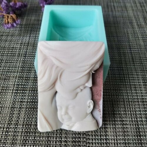 Silica Gel Soap Mold Mother Baby Rectangle Shaped Silicone for Natural Oil Soap