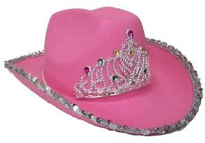 4f69d7e73a9b0 Details about VELVET PINK COWBOY HAT W TIARA cowgirl western wear pageant  hats rodeo wear
