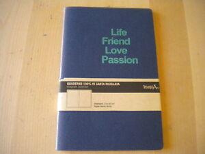 Quaderno-210x140-mm-neutro-100-carta-riciclata-Life-Friend-Love-Passion-Nuovo
