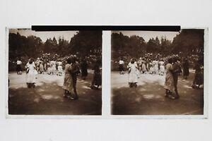 Danza Ballo IN Aperto Foto N1 Placca Stereo 6x13cm Vintage