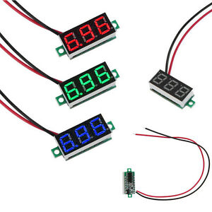 Rot-Blau-Gruen-DC-3-30V-0-36-2-Wire-LED-Digital-Panel-Meter-Voltage-Voltmeter