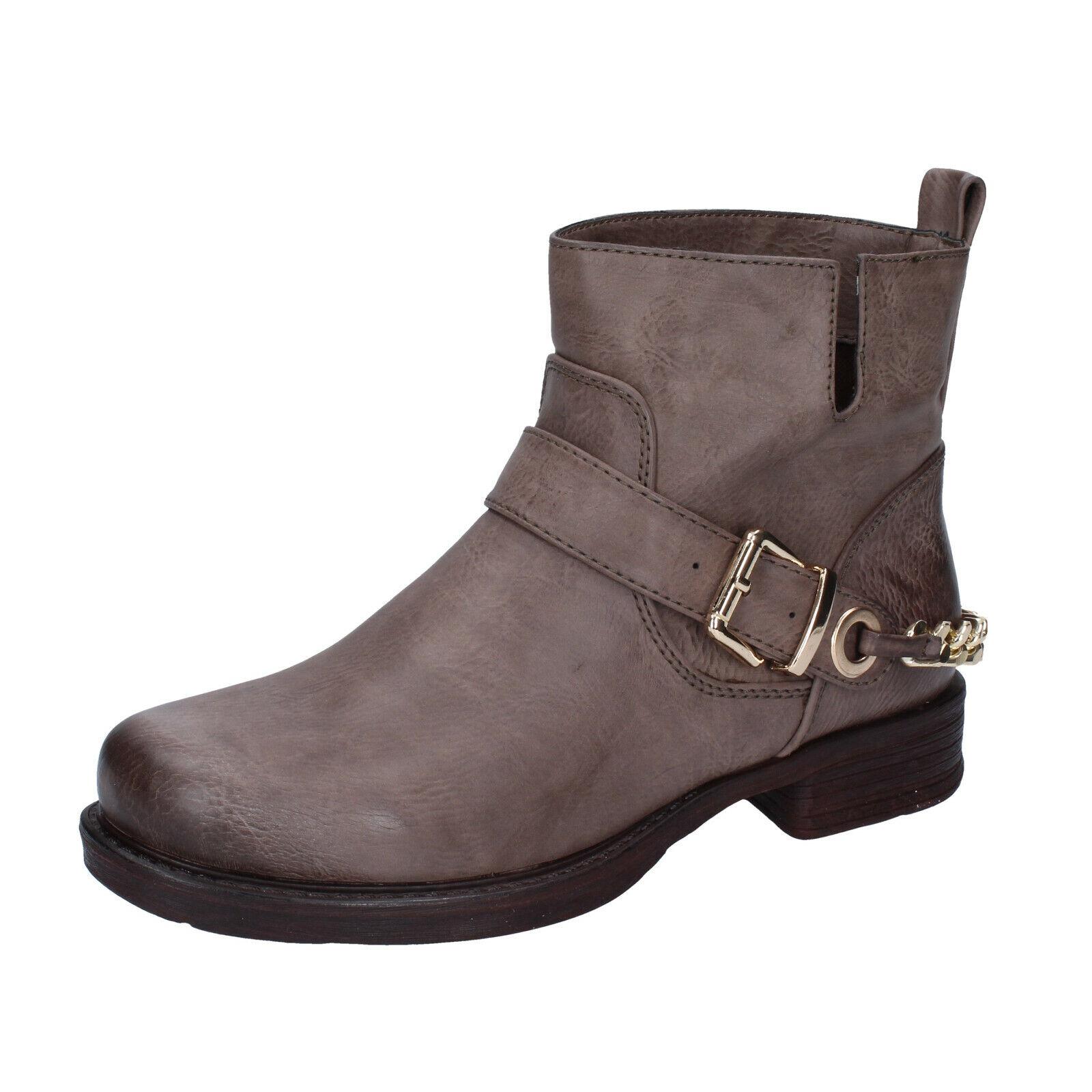 Femme chaussures francesco milano 4 (ue 37) bottines en cuir marron AJ227-D