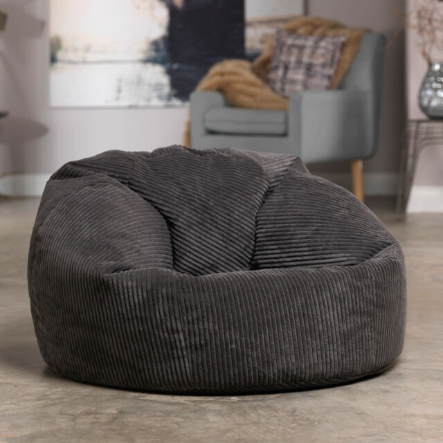 Luxury Cord Bean Bag X Large Adult Bean Bag Chair - Charcoal Grey