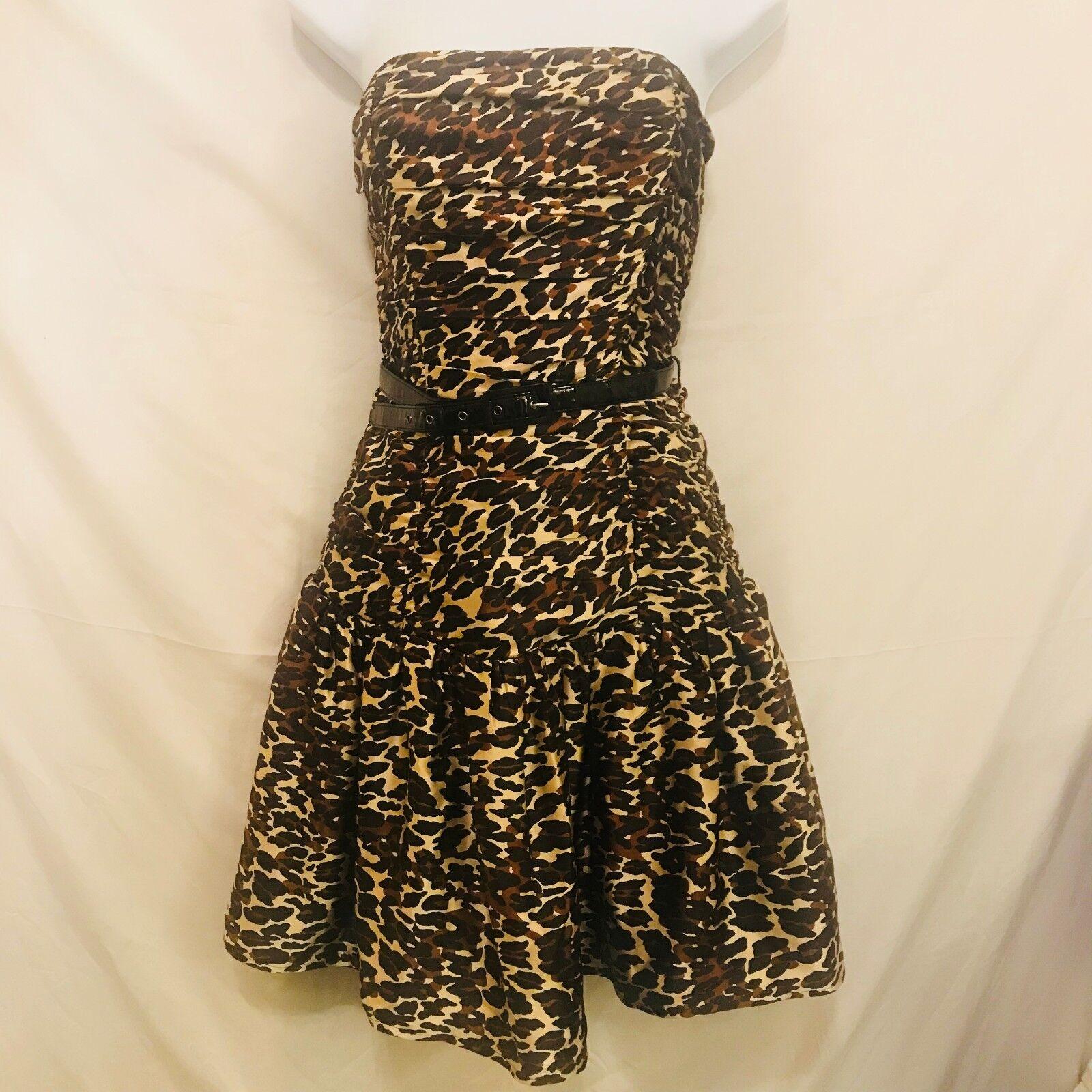 Betsey Johnson schwarz Label Strapless Silk Leopard Print Dress 6 Belted