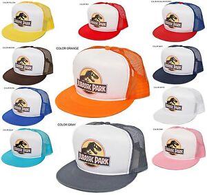 New Retro  JURASSIC PARK  Movie Flat Bill Hat Cap Mesh Foam Truckers ... bd0e9e5eece5