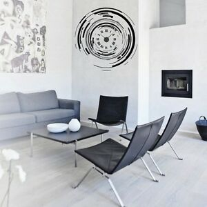sticker mural horloge g ante l 39 air du temps chiffres romains m canisme aiguilles ebay. Black Bedroom Furniture Sets. Home Design Ideas