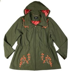 Dennis-Basso-Womens-Size-L-Jacket-Floral-Embroidered-Anorak-Hooded-Zip-Front