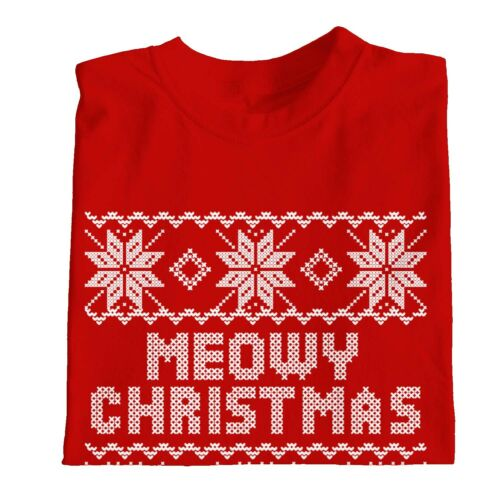 1Tee Kids Girls Meowy Christmas Cat T-Shirt