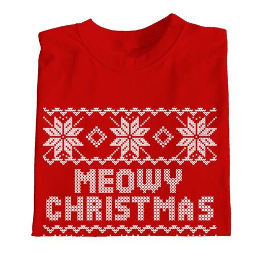 1Tee Kids Girls Meowy Christmas Cat T-Shirt