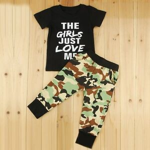 92eddfbde4ab Toddler Kids Baby Boys Summer Clothes T-shirt Tops+Camo Pants 2pcs ...