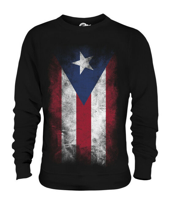 PUERTO RICO FADED FLAG UNISEX SWEATER TOP PUERTO RICAN SHIRT FOOTBALL GIFT