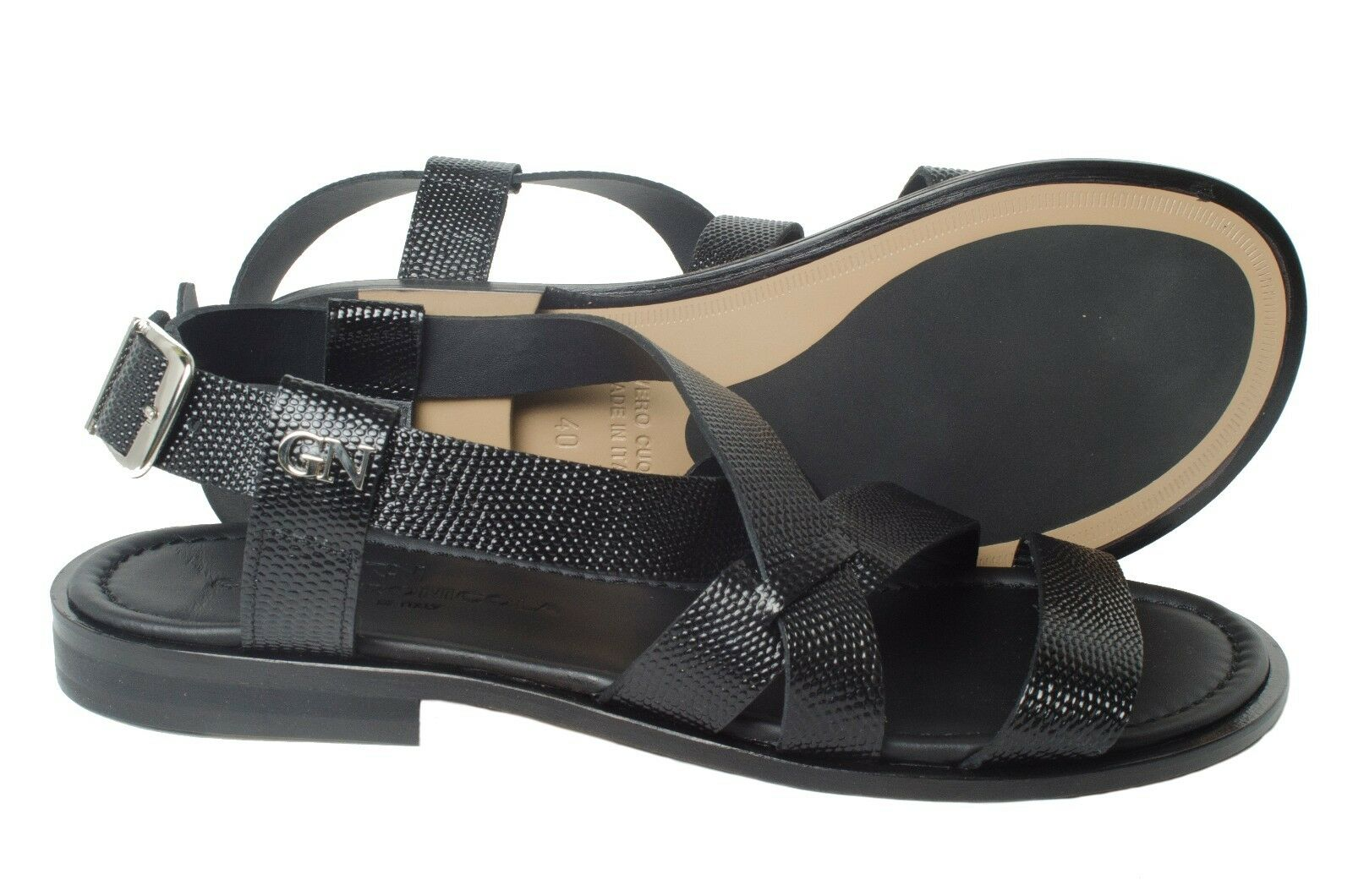 GIAMPIERONICOLA 3720 3720 3720 Italian schwarz lizard printed leather sandals w back strap cd743e