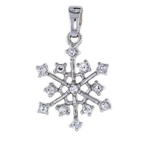 Sterling Silver Jeweled Snowflake Pendant  w// Cubic Zirconia Stones