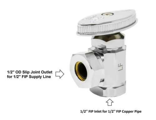 inlet outlet x 1//2/'/' OD Slip Joint Multi Turn Angle Stop 5 Pack 1//2/'/' FIP