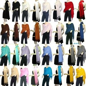 NEW Women Solid 100%Pashmina/Cashmere Classic SHAWL Scarf Stole WRAP Silky Lots