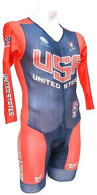 Cuore Team USA Manche Longue Aero Skinsuit adultes Xs Small Medium Road Bike TT CX