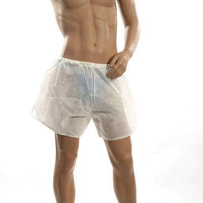 NEW Mens See Through White Sport Shorts Disposable Boxer Underwear Int.422