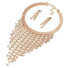 Womens Crystal Charms Jewelry Set Choker Chunky Statement Bib Necklace earrings