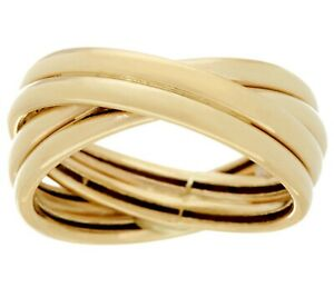 Polished Crossover Design Band Ring Real 14K Yellow Gold QVC Size 5