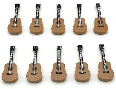 Lego 10 New Minifigure Utensil Acoustic Guitars Musical Band Instrument Pieces