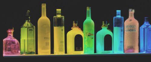 """44"""" MULTI-COLOR LED LIQUOR BOTTLE DISPLAY,GLASS DISPLAY BAR SHELF BLACK W REMOTE"""