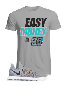 KD 10 Grey Multicolor Matching T Shirt Kevin Durant Sz S M L XL up to 4XL
