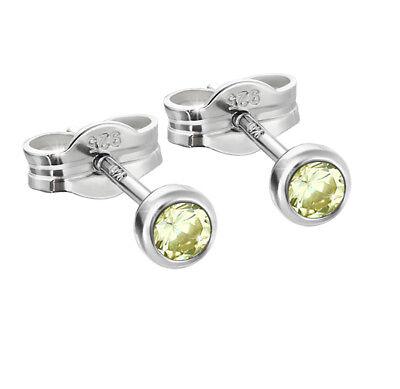 Verantwortlich Paar Ohrstecker 925er Sterling Silber 3,50mm Limette Zirkonia Damen Herren 6768