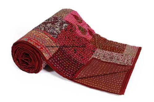 Indian Hand Work Vintage Art Silk Bed Cover Patchwork Kantha Quilt Queen Throw