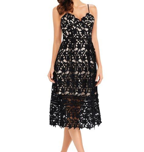 ~KIM~ Black Crochet Evening Party Occasion Cocktail Midi Maxi Dress 8 10 12 14