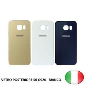 SCOCCA-VETRO-POSTERIORE-RETRO-BACK-COVER-SAMSUNG-GALAXY-S6-G920-BIANCO