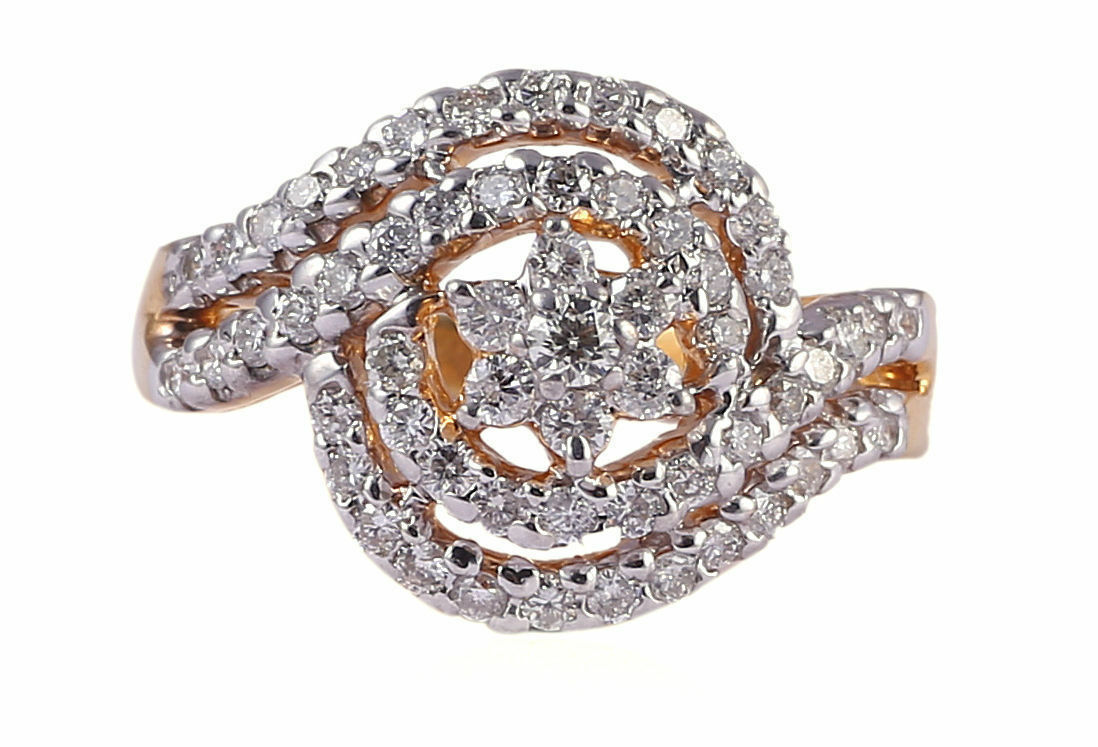 Pave 0.85 Cts Round Brilliant Cut Diamonds Engagement Ring In Certified 14K gold