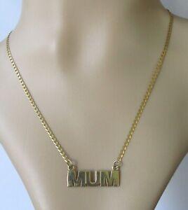 Anillo-De-Oro-9ct-Vintage-9ct-Oro-Amarillo-034-Cadena-Collar-Colgante-mama