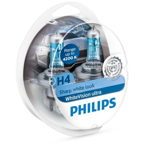 Philips WhiteVision ULTRA H4  4200k bis zu 60/% mehr Halogenlampe 12342WHUSM
