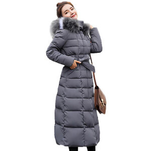 Heat-Tracing Prefect,Women Winter Jacket with F-ur Collar Warm Hooded Female Coat,Gray,L