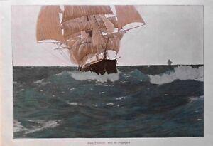 Seefahrt, Schiffe, Schiffbau. Segler auf Tropenfahrt - Farbdruck um 1895