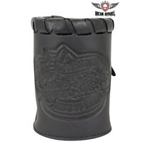 Genuine Leather Motorcycle Cup Holder With Braid