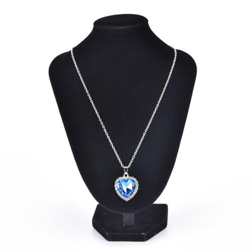 Ocean Heart Pendant Necklace Womens Crystal Rhinestones Jewelry Accessories  Pip