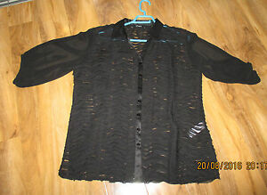 Bnwot £100 Designer Blouse Top Black 18 Almost Stunning By Q'neel Size Was pwx8Pq